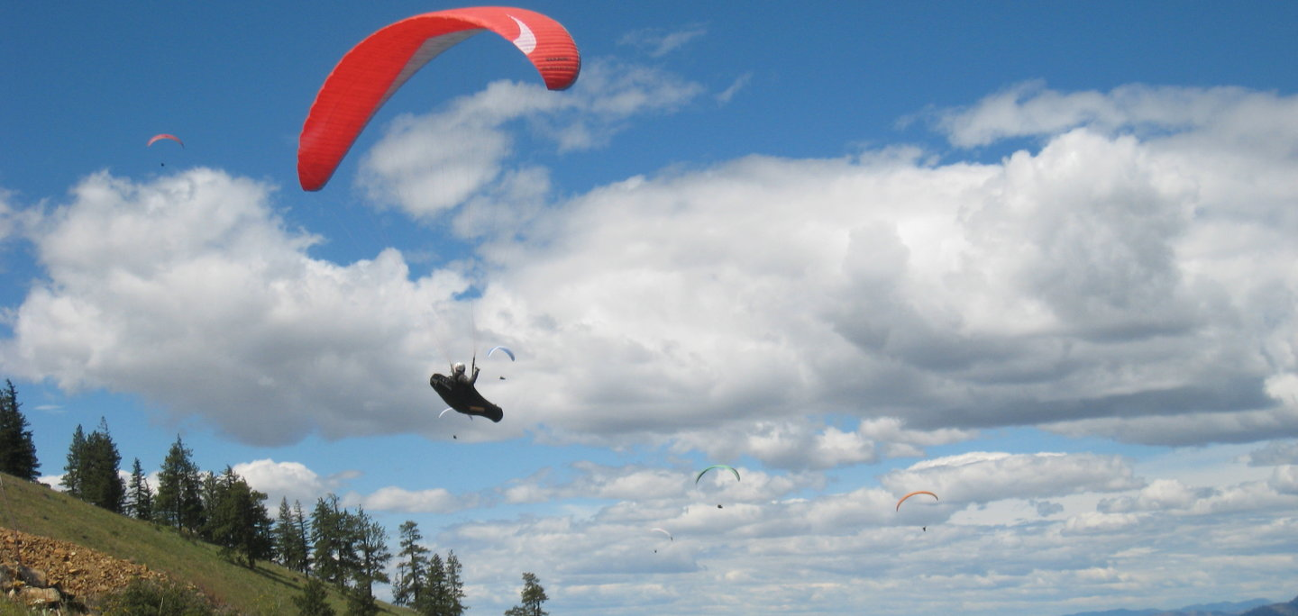 Paragliders Flying